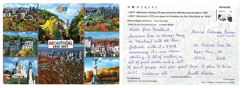 Put It On A Postcard campaign Montreal