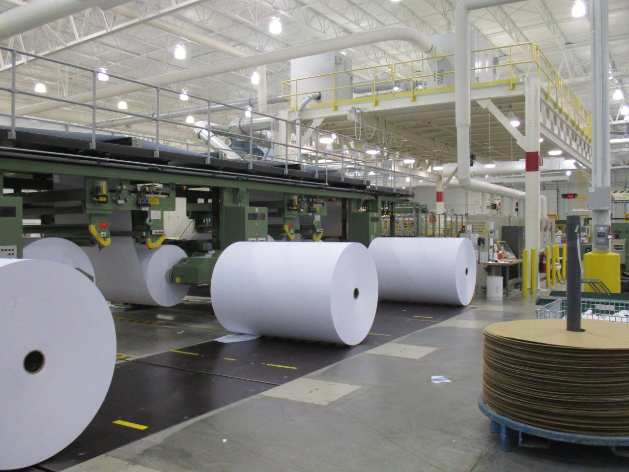 rolls at paper converting facility
