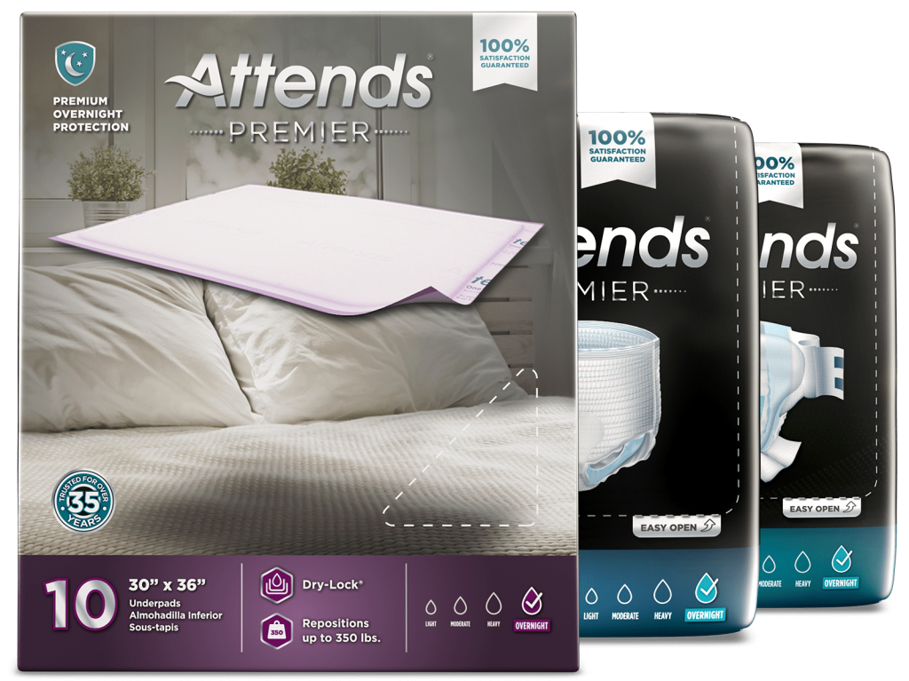 Attends Premier adult incontinence care product line