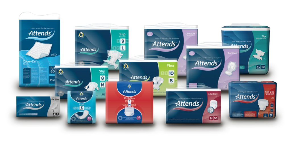 full Attends adult incontinence care product line